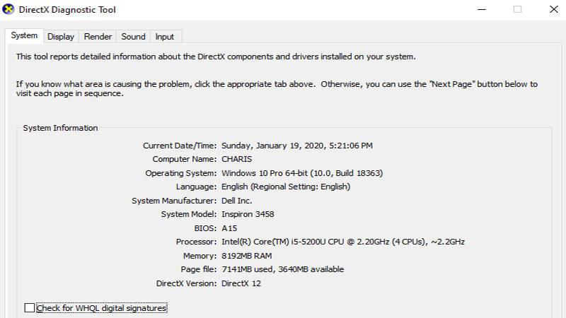 cek ram laptop menggunakan dxdiag