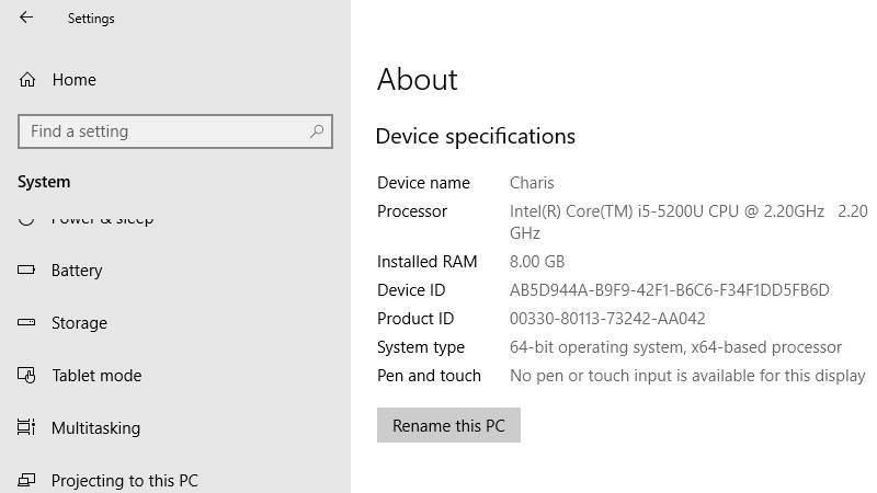 settings laptop
