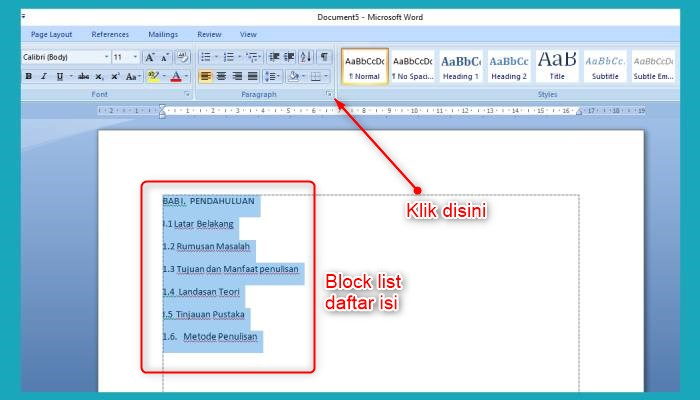Cara Buat Daftar Isi Manual Di Word