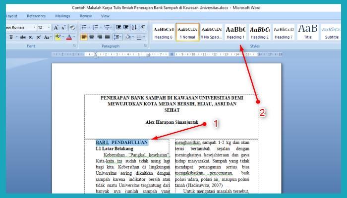 Cara Membuat Daftar Isi Otomatis Di Word 2010
