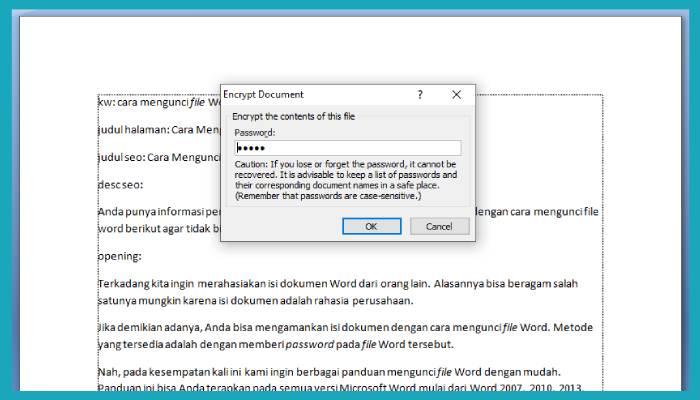 Cara Menghapus Password File Word