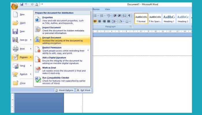 Cara Mengunci File Word 2007