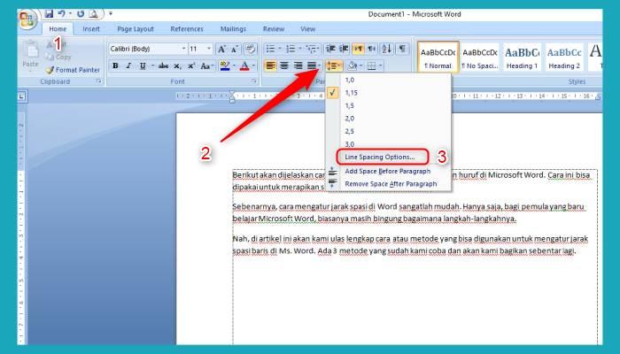 Cara Mengatur Spasi Baris Di Word 2010