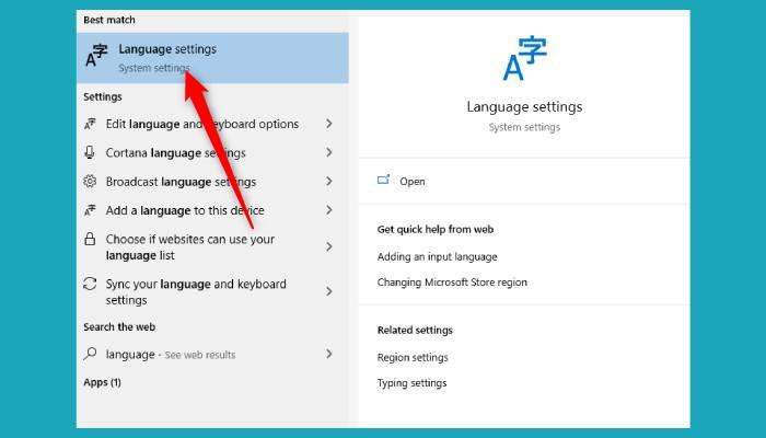 Language Setting Windows 10